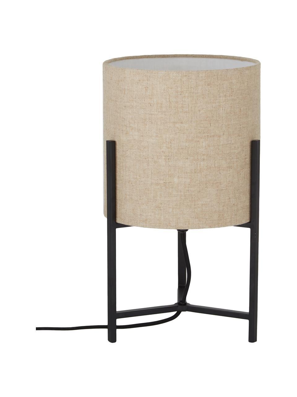 Lampa stołowa z lnu Piper, Beżowy, Ø 22 x W 38 cm
