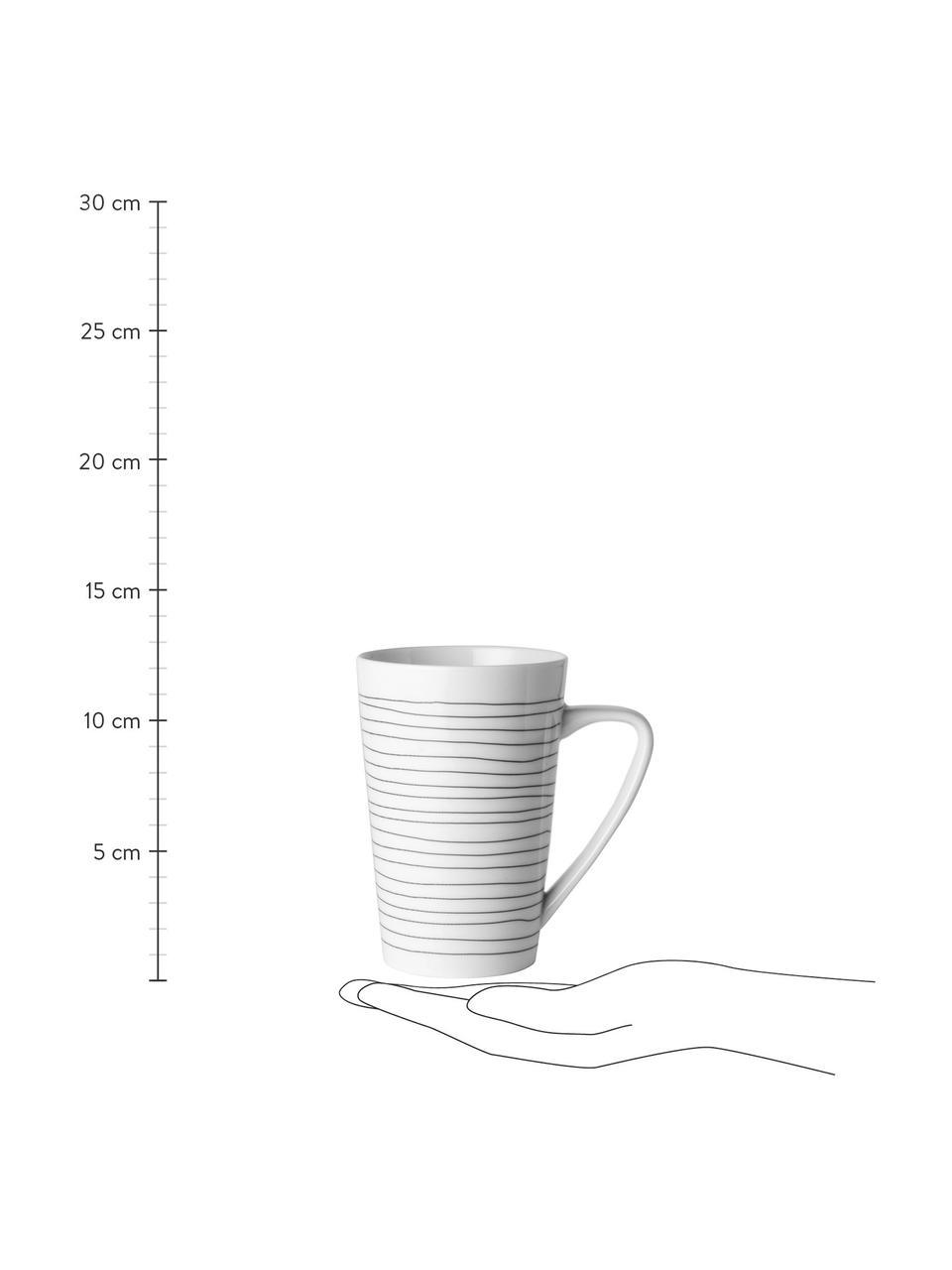 XL-Tassen Eris Loft mit Liniendekor, 4 Stück, Porzellan, Weiß, Schwarz, Ø 9 x H 13 cm