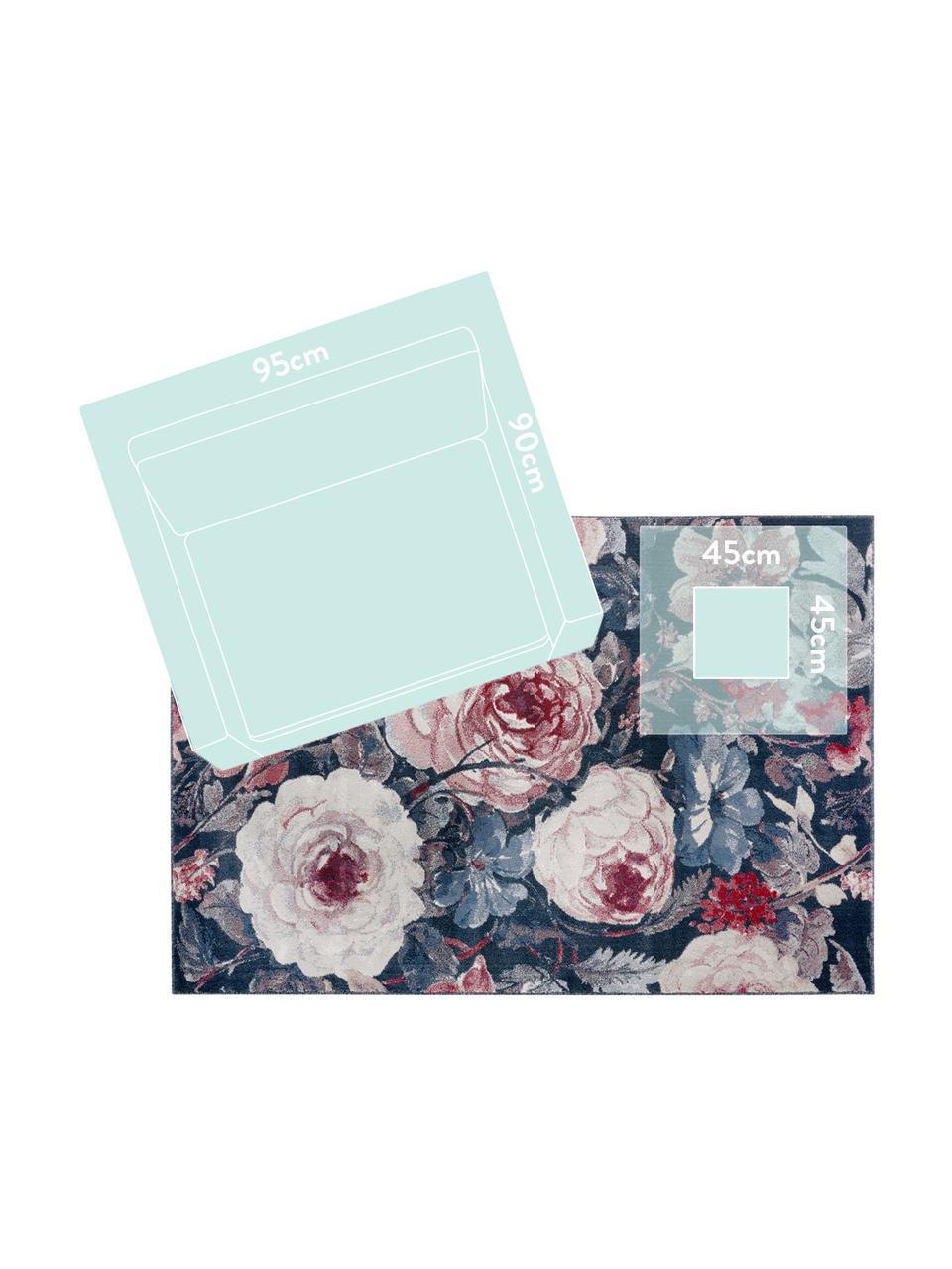 Teppich Peony mit Blumenmuster, 100% Polypropylen, Blau, Cremefarben, Rot, B 200 x L 290 cm (Größe L)