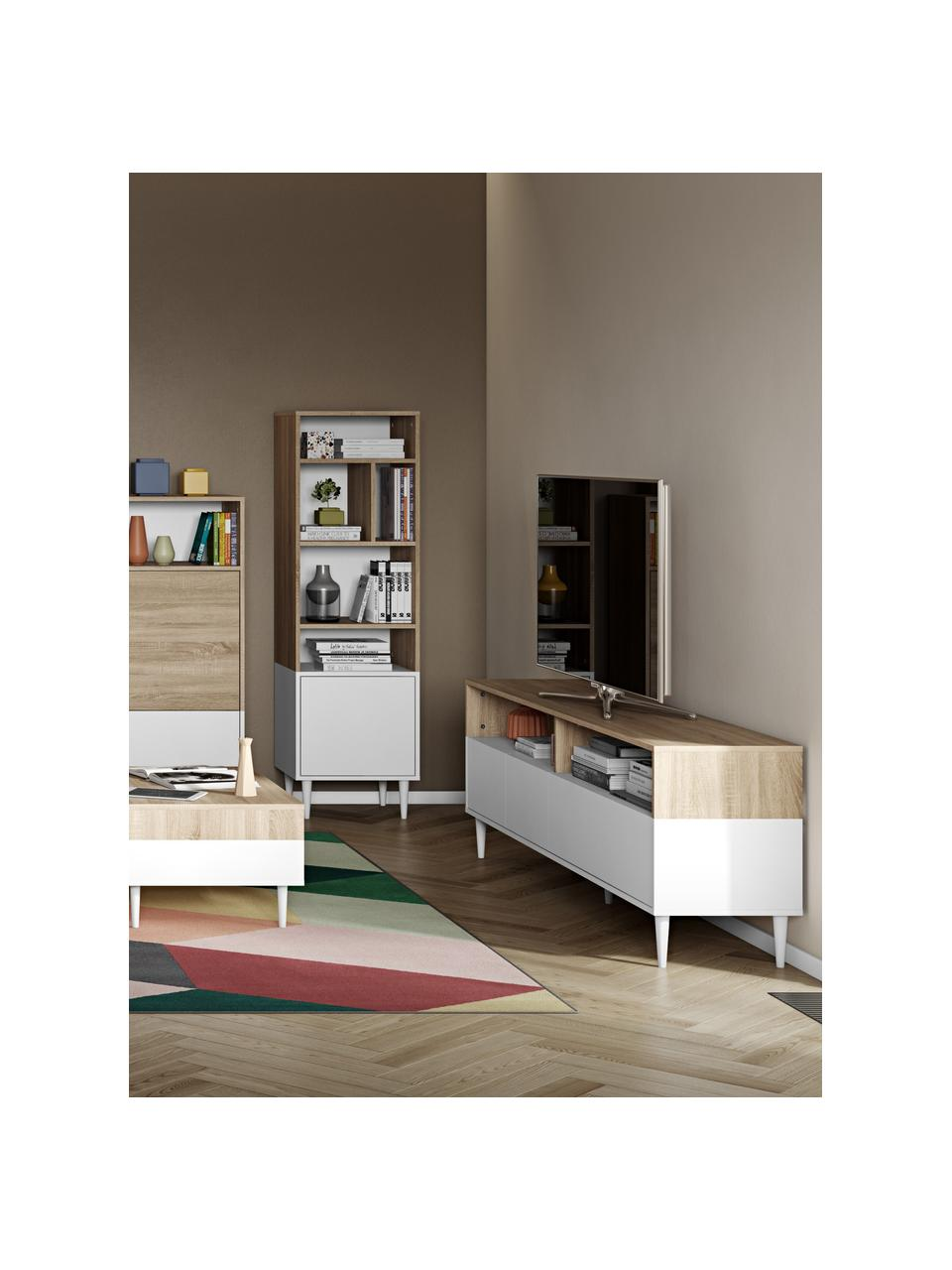 Mobile TV effetto legno di quercia Horizon, Piedini: legno di faggio massiccio, Legno di quercia, bianco, Larg. 180 x Alt. 61 cm