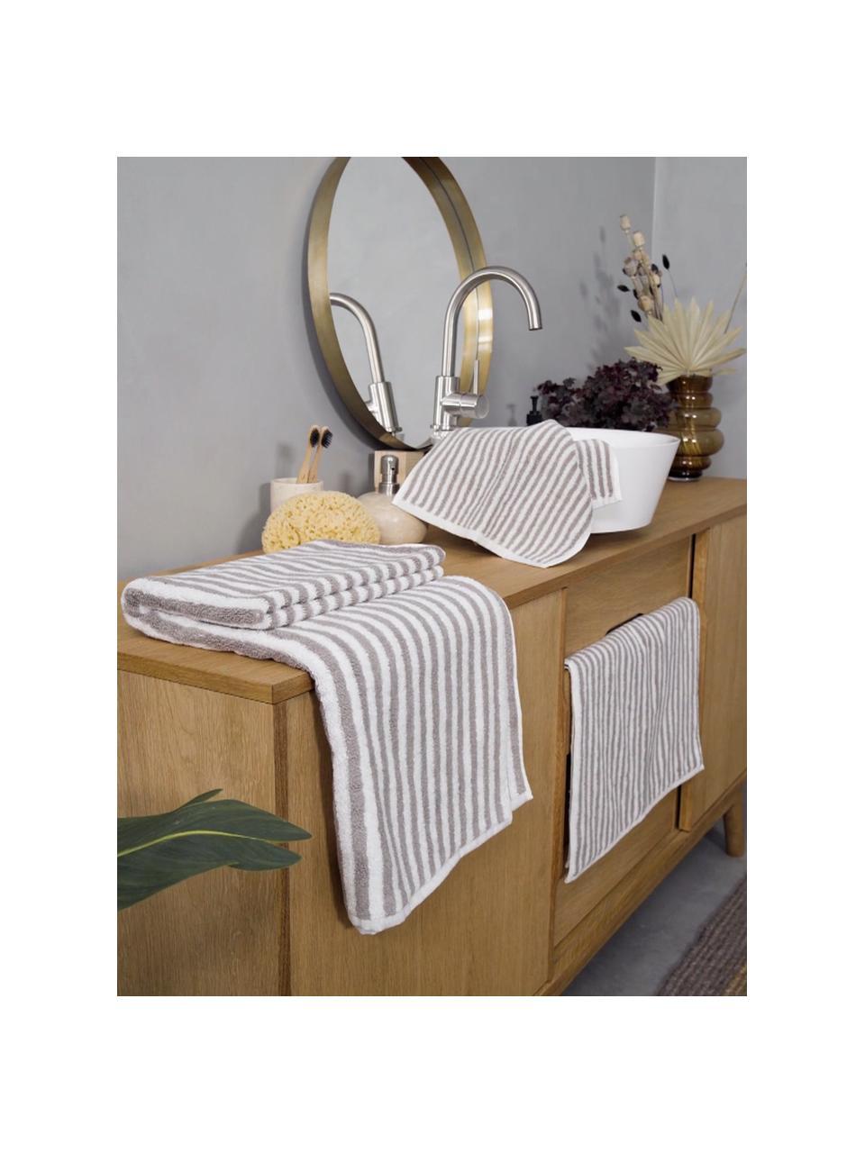 Serviette de toilette coton pur à rayures Viola, Gris, blanc crème