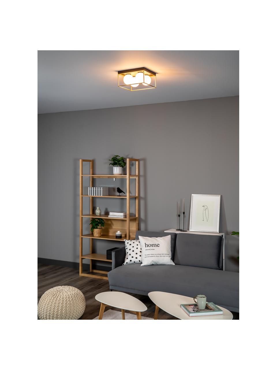 Kleine Deckenleuchte Astro aus Opalglas, Lampenschirm: Opalglas, Baldachin: Metall, beschichtet, Goldfarben, Schwarz, Weiß, 28 x 15 cm