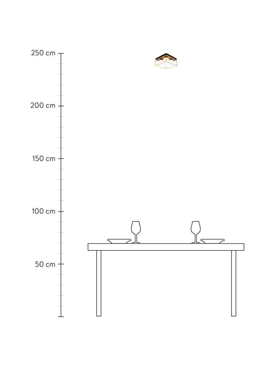 Plafoniera in vetro opale Astro, Paralume: vetro opale, Baldacchino: metallo rivestito, Dorato, nero, bianco, Larg. 28 x Alt. 15 cm