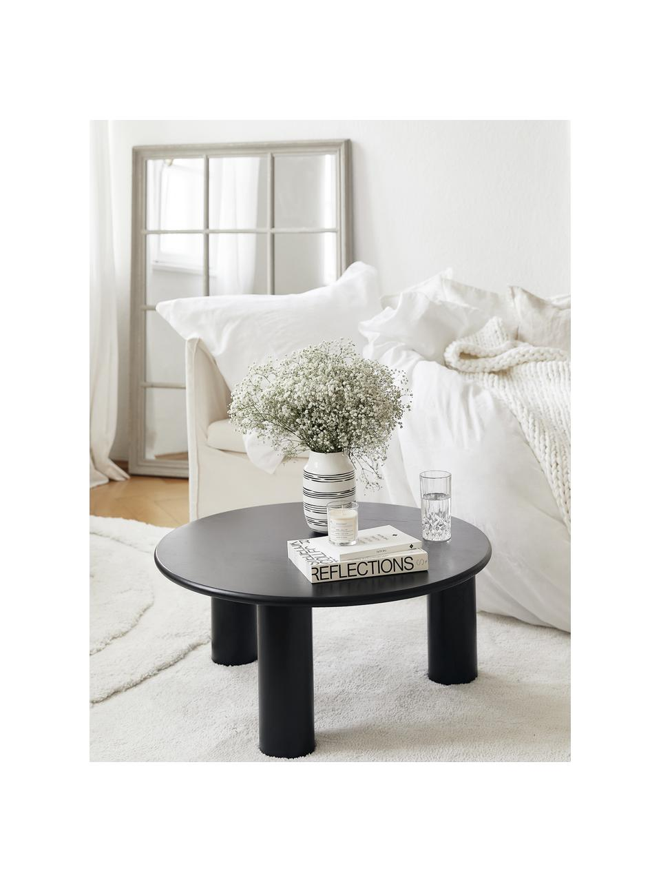 Stolik kawowy z drewna dębowego Didi, Lite drewno dębowe, lakierowane, Czarny, Ø 80 x W 35 cm