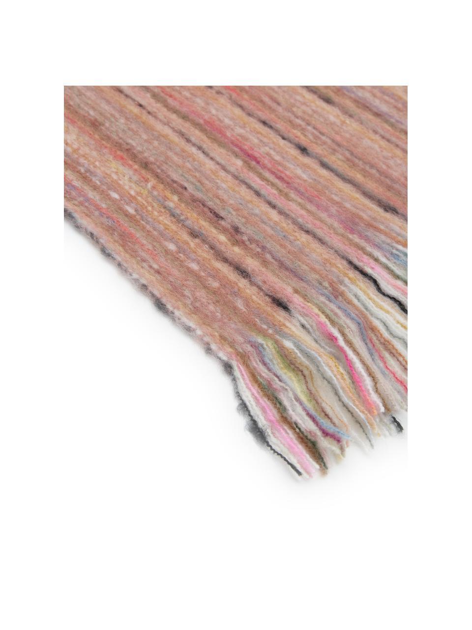 Bunt meliertes Plaid Ayana mit Fransen, 100% Acryl, Altrosa, Mehrfarbig, 130 x 190 cm