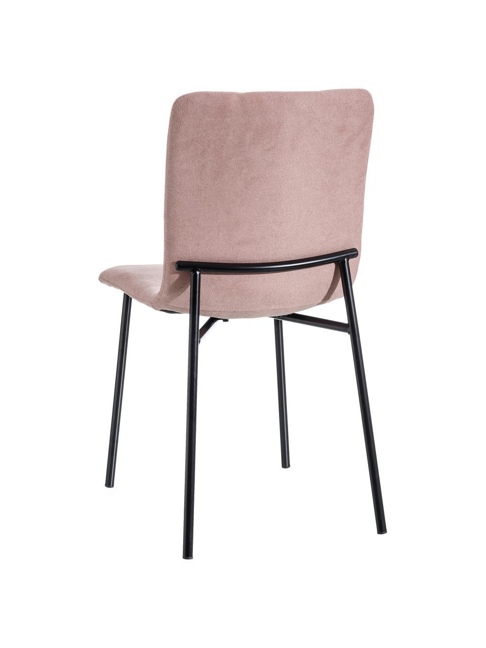 Krzesło tapicerowane Sofia, Tapicerka: 100% poliester, Nogi: metal, Blady różowy, czarny, S 55 x G 45 cm