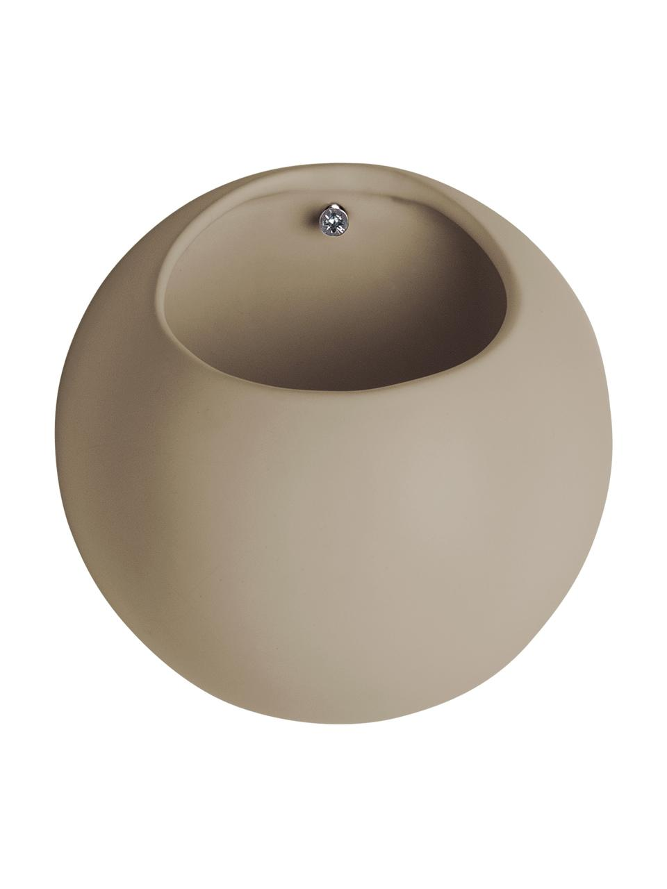 Kleiner Wand-Übertopf Globe aus Keramik, Keramik, Beige, Ø 15 x H 10 cm