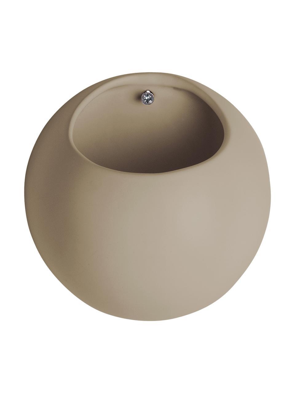 Ścienna osłonka na doniczkę z ceramiki Globe, Ceramika, Beżowy, Ø 15 x W 10 cm