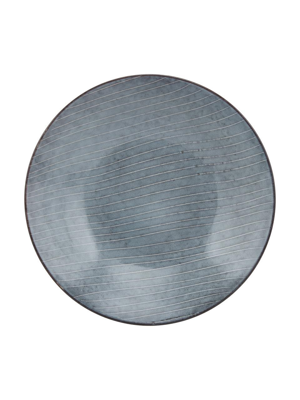 Piatto fondo in gres fatto a mano Nordic Sea 4 pz, Ø 22 cm, Gres, Tonalità grigie e blu, Ø 22 x Alt. 5 cm