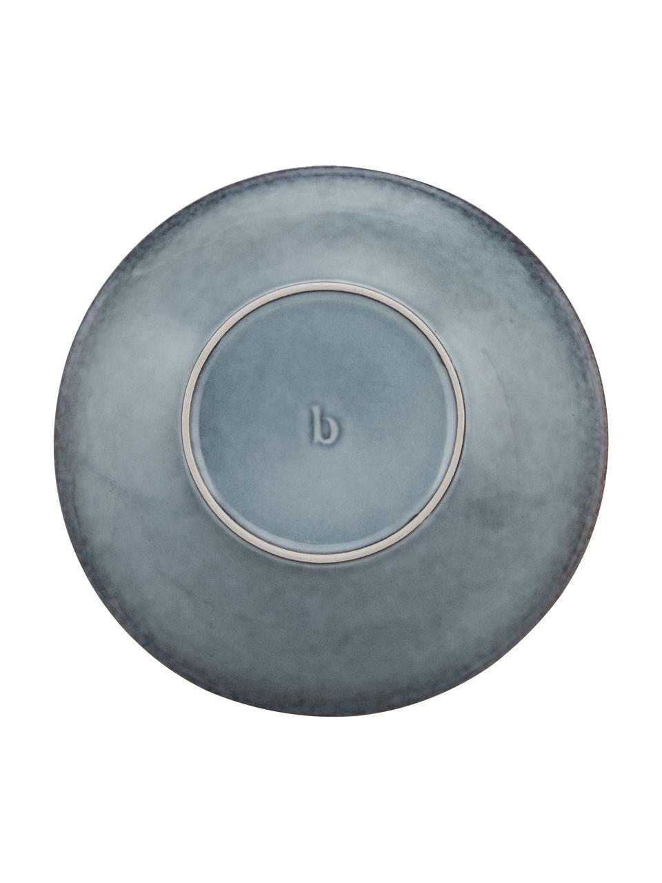 Ręcznie wykonany talerz głęboki z kamionki Nordic Sea, 4 szt., Kamionka, Odcienie szarego, odcienie niebieskiego, Ø 22 x W 5 cm