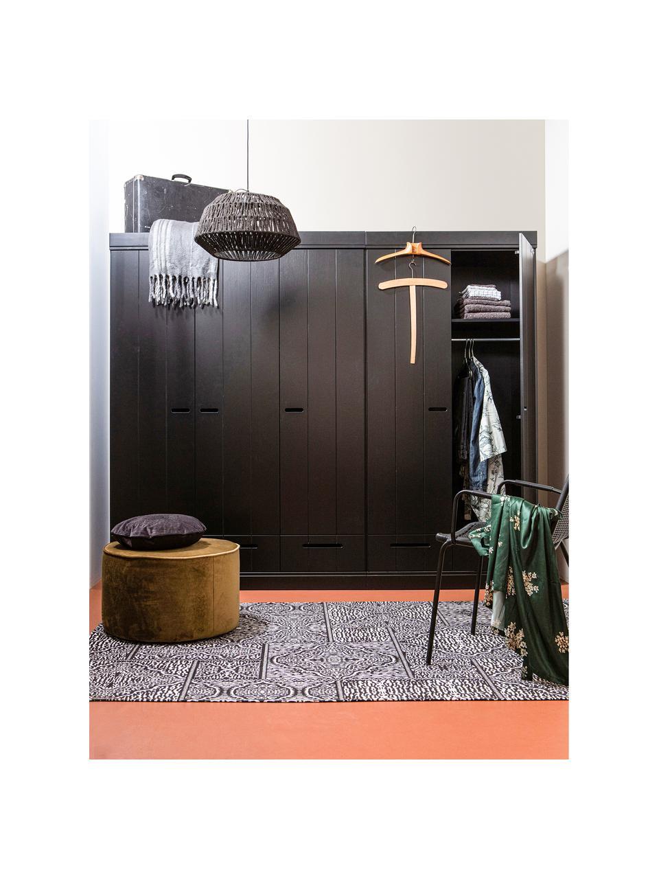 Szafa Connect, Korpus: lite drewno sosnowe, laki, Czarny, S 94 x W 195 cm