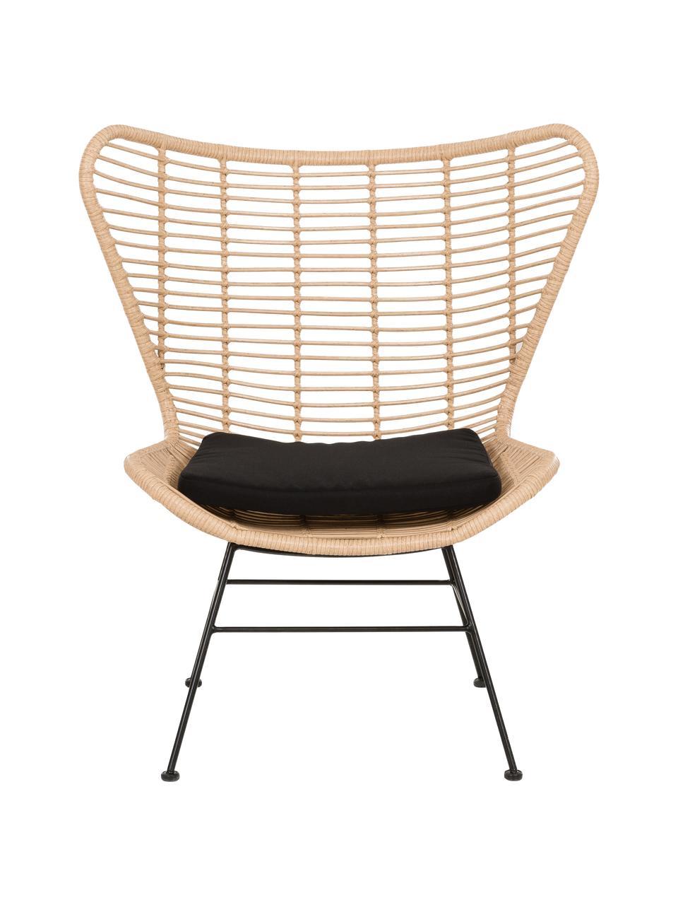 Polyrattan-Ohrensessel Costa in Hellbraun, Sitzfläche: Polyethylen-Geflecht, Gestell: Metall, pulverbeschichtet, Hellbraun, Schwarz, B 90 x T 89 cm