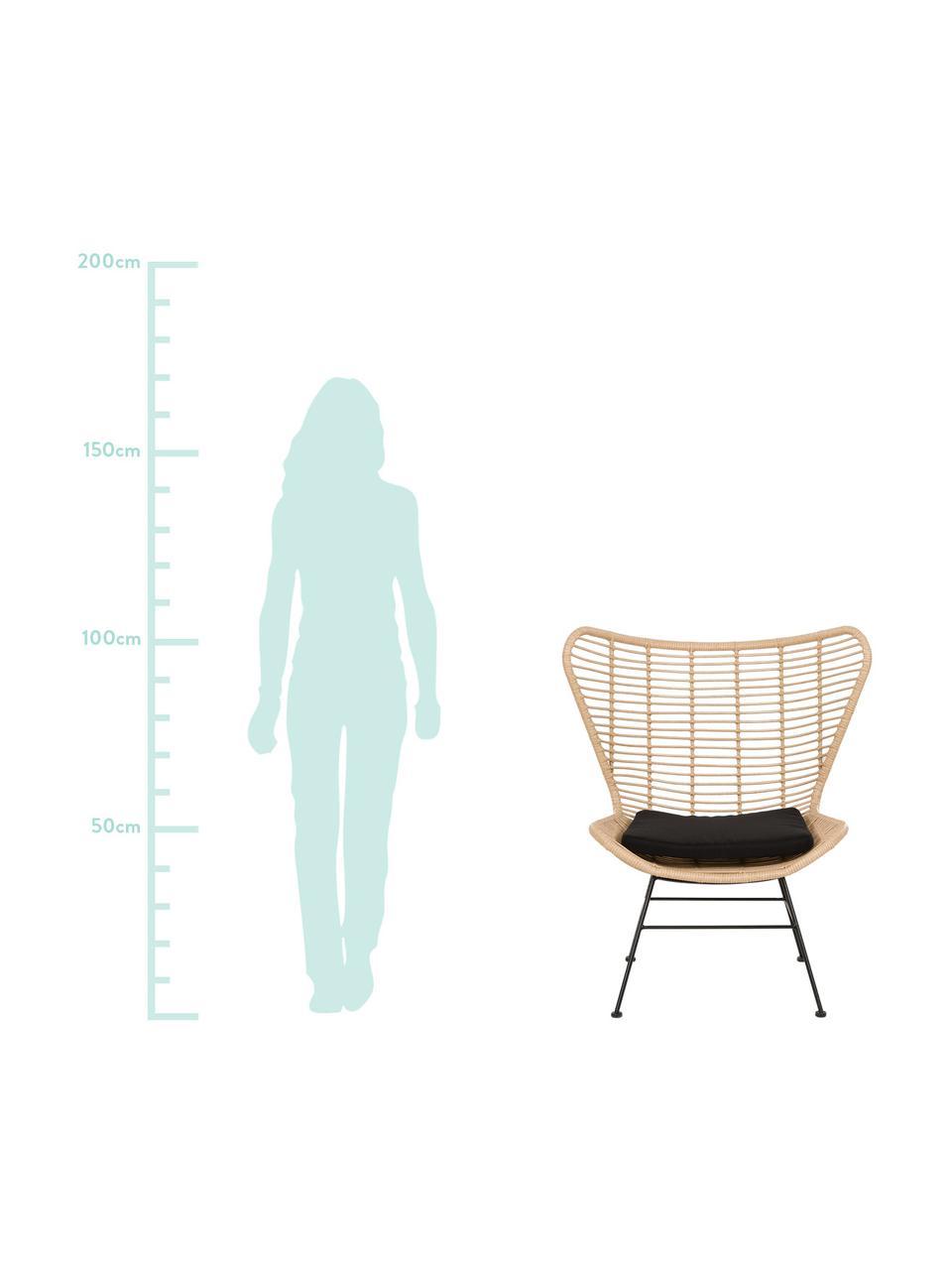 Ohrensessel Costa mit Polyrattan, Sitzfläche: Polyethylen-Geflecht, Gestell: Metall, pulverbeschichtet, Hellbraun, Schwarz, B 90 x T 89 cm