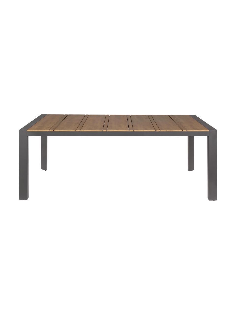 Tavolo da giardino Elias, Piano d'appoggio: compensato rivestito, Gambe: alluminio verniciato a po, Antracite, marrone, Larg. 198 x Prof. 100 cm