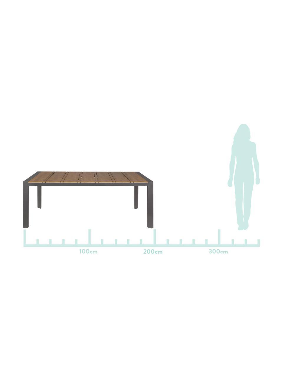 Tuintafel Elias, Tafelblad: gecoat multiplex, Poten: gepoedercoat aluminium, Antraciet, bruin, B 198 x D 100 cm