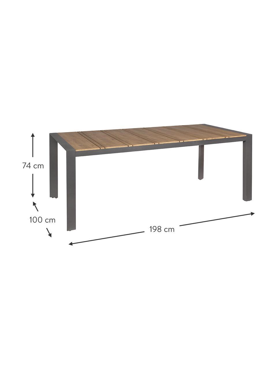 Garten-Esstisch Elias, Tischplatte: Sperrholz, beschichtet, Beine: Aluminium, pulverbeschich, Anthrazit, Braun, B 198 x T 100 cm