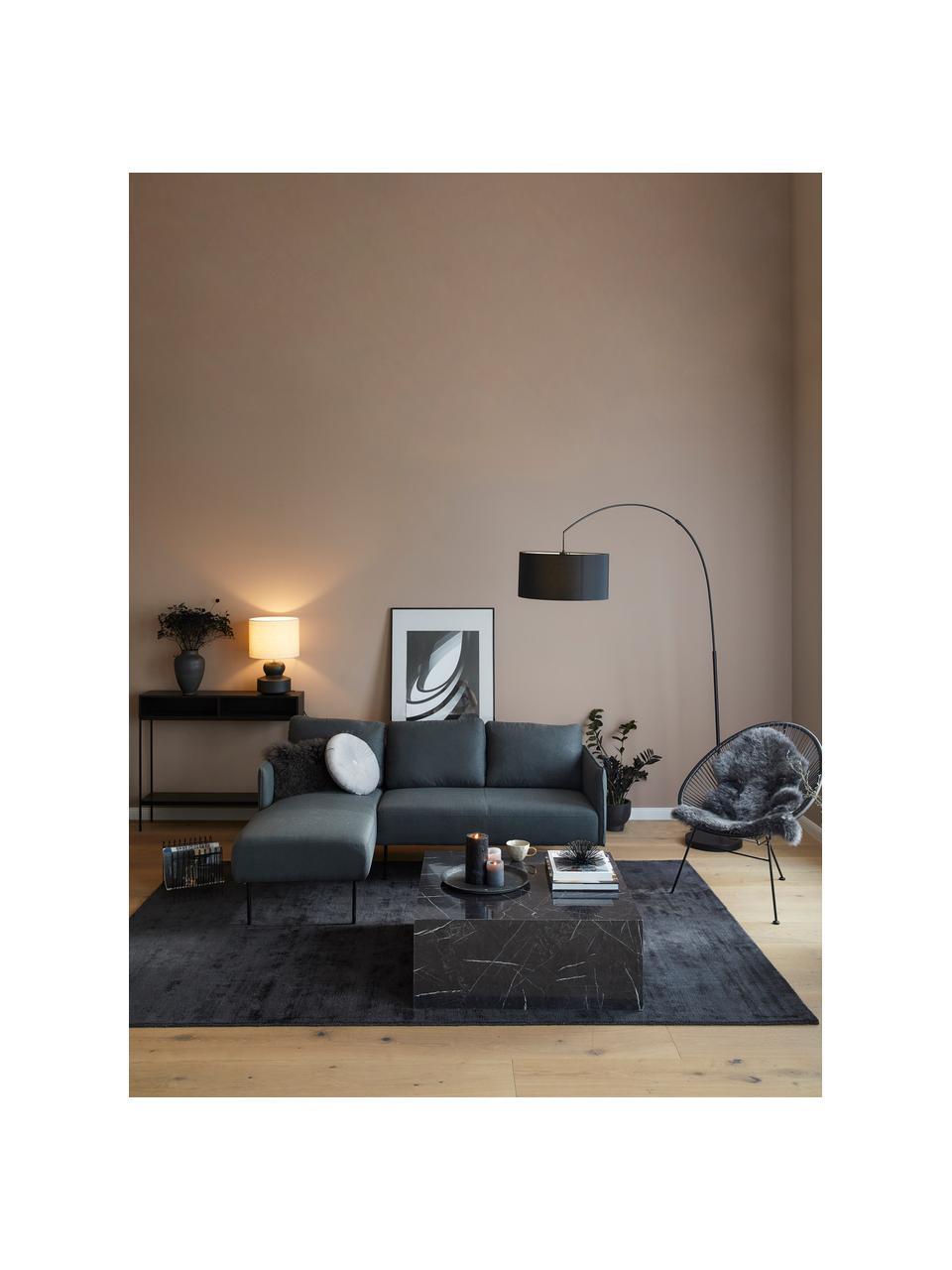 Hoekbank Ramira in antraciet met metalen poten, Bekleding: polyester, Frame: massief grenenhout, multi, Poten: gepoedercoat metaal, Antraciet, B 192 x D 139 cm