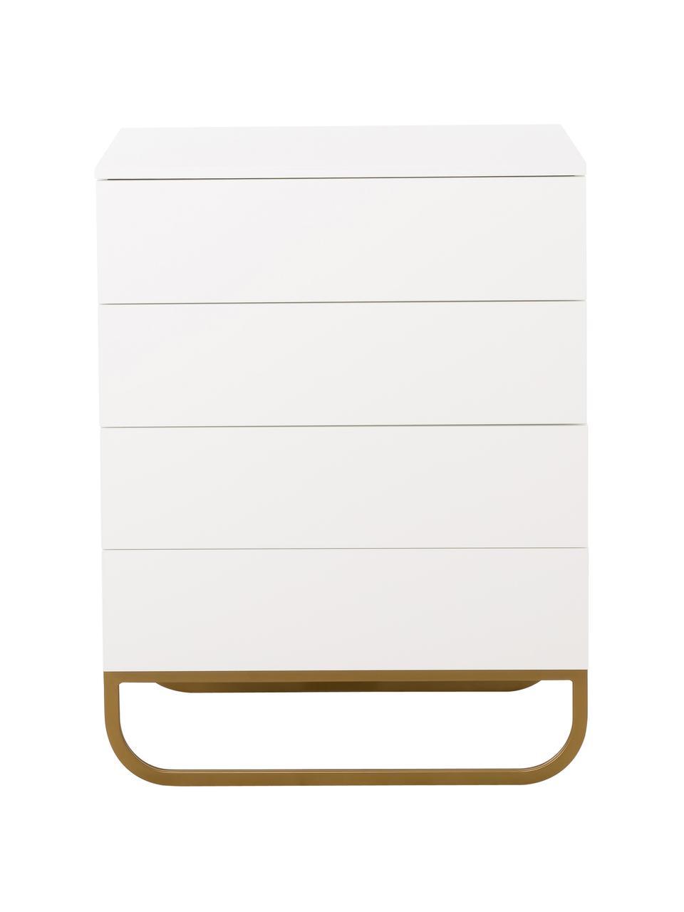 Cassettiera bianca Sanford, Struttura: bianco opaco Gambe: dorato opaco, Larg. 80 x Alt. 106 cm