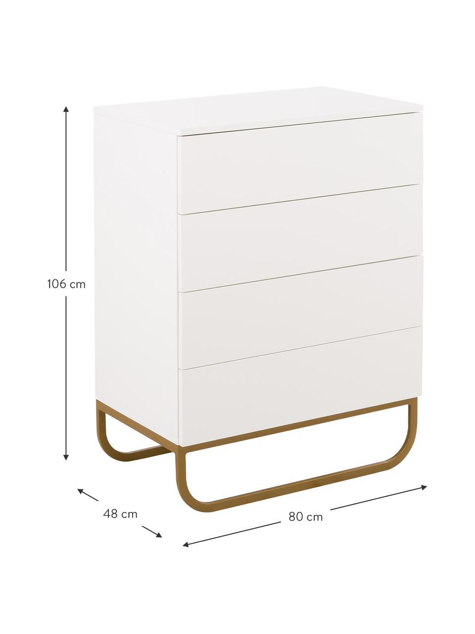 Szafka z szufladami Sanford, Korpus: płyta pilśniowa średniej , Biały, odcienie złotego, S 80 x W 106 cm