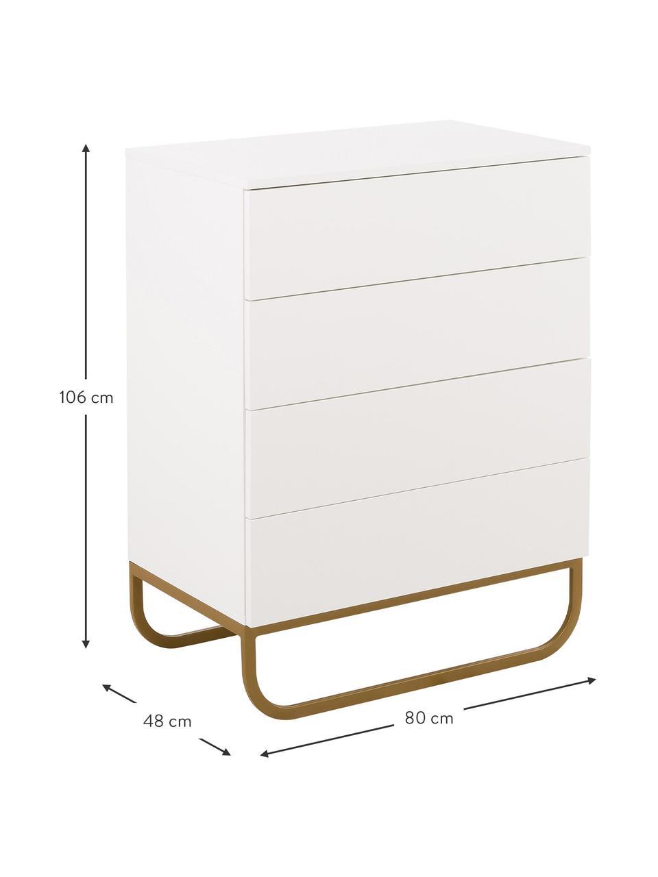 Schubladenkommode Sanford in Weiß, Korpus: Mitteldichte Holzfaserpla, Fußgestell: Metall, pulverbeschichtet, Weiß, Goldfarben, 80 x 106 cm