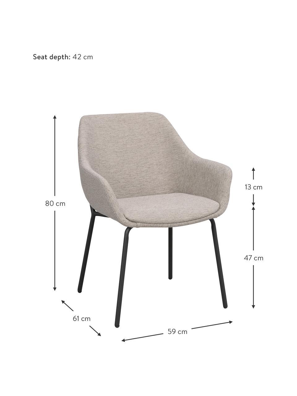 Krzesło tapicerowane z metalowymi nogami Haley, Tapicerka: 100% polipropylen, Stelaż: drewno warstwowe, Nogi: metal powlekany, Jasny szary, czarny, S 59 x G 61 cm