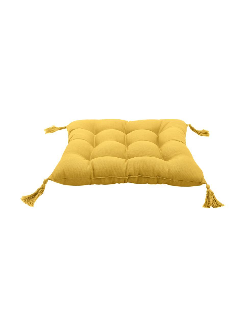 Sitzkissen Ava in Gelb mit Quasten, Bezug: 100% Baumwolle, Gelb, 40 x 40 cm