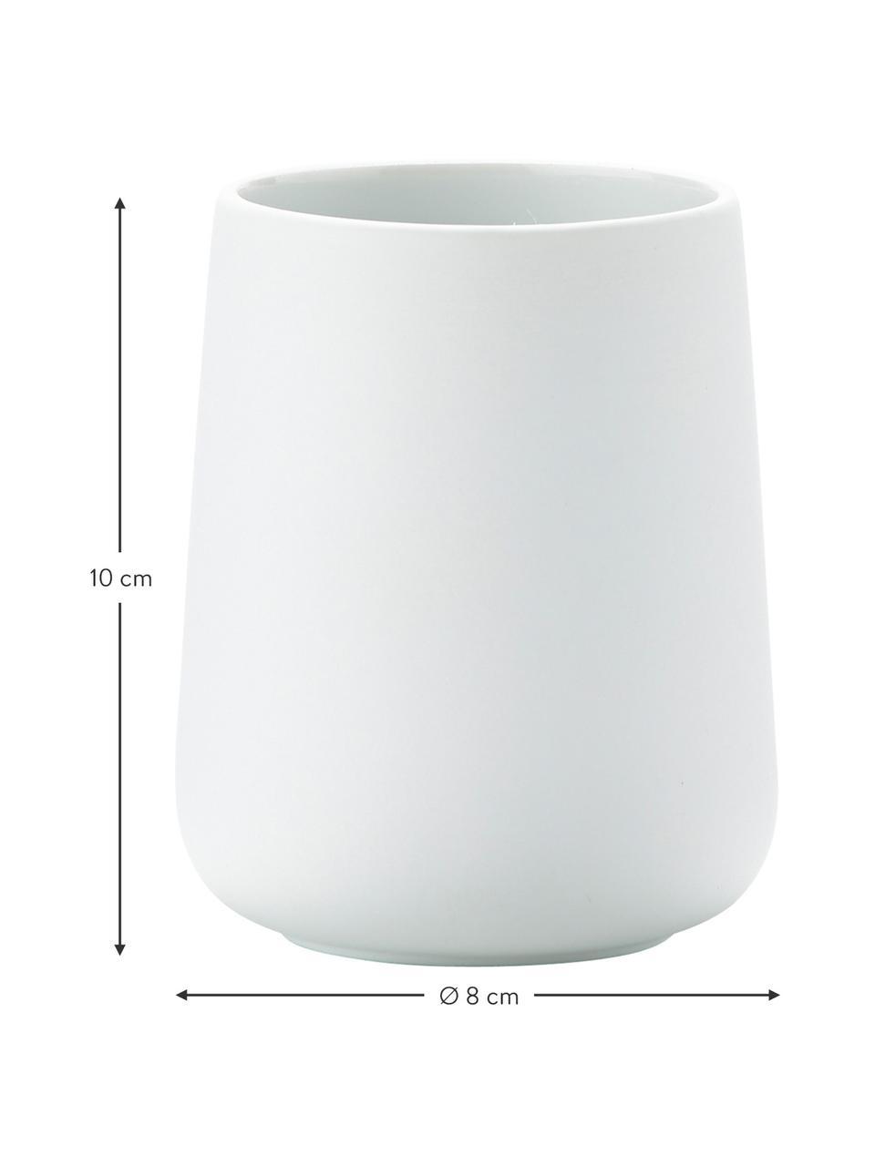Porzellan-Zahnputzbecher Nova, Porzellan, Weiß, matt, Ø 8 x H 10 cm