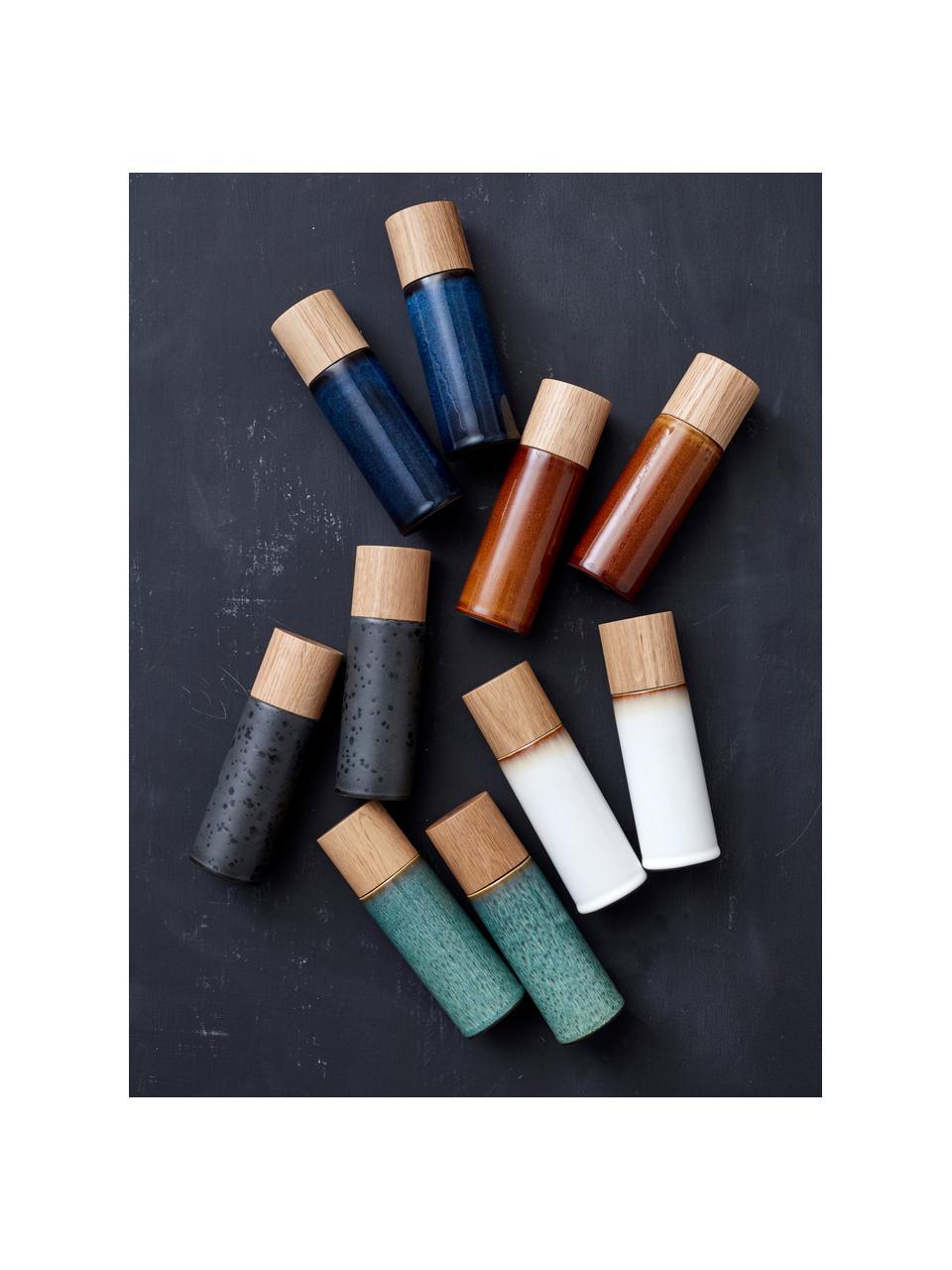 Komplet młynka do soli i pieprzu z kamionki Bizz, 2 elem., Kremowobiały, brązowy, drewno naturalne, Ø 5 x W 17 cm