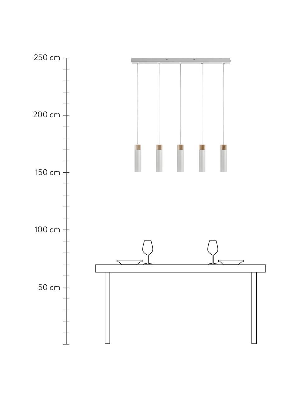Große Pendelleuchte Tilo in Grau mit Holz-Dekor, Lampenschirm: Metall, beschichtet, Dekor: Holz, Baldachin: Metall, beschichtet, Grau, Braun, 81 x 25 cm