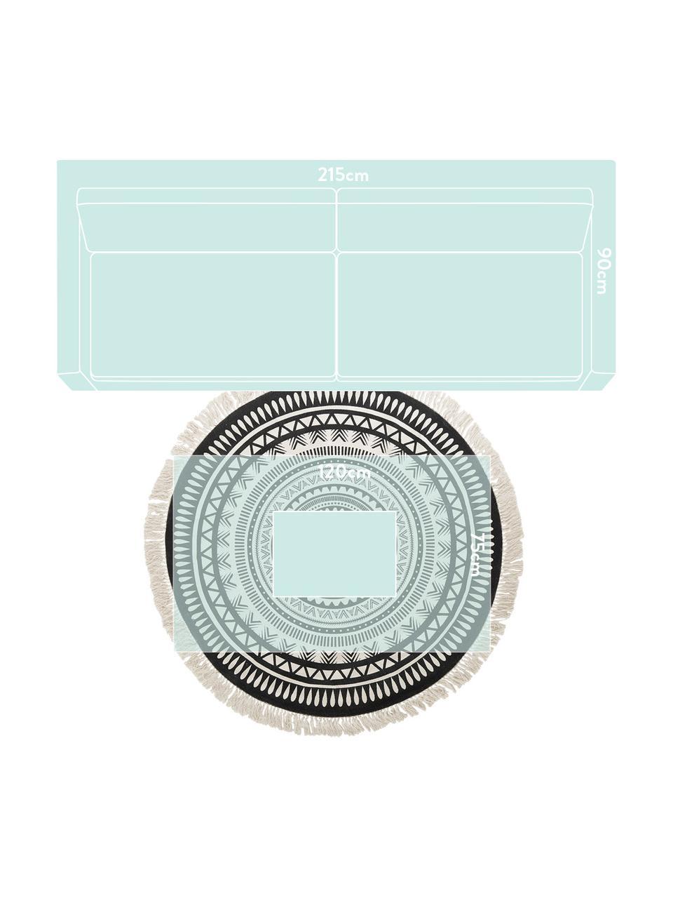 Runder Teppich Benji mit Fransen, flachgewebt, 100% Baumwolle, Schwarz, Beige, Ø 150 cm (Größe M)