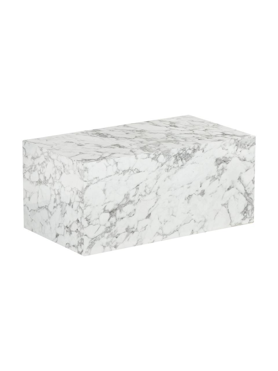 Stolik kawowy z imitacji marmuru Lesley, Płyta pilśniowa średniej gęstości (MDF) pokryta folią melaminową, Biały, marmurowy, S 90 x G 50 cm