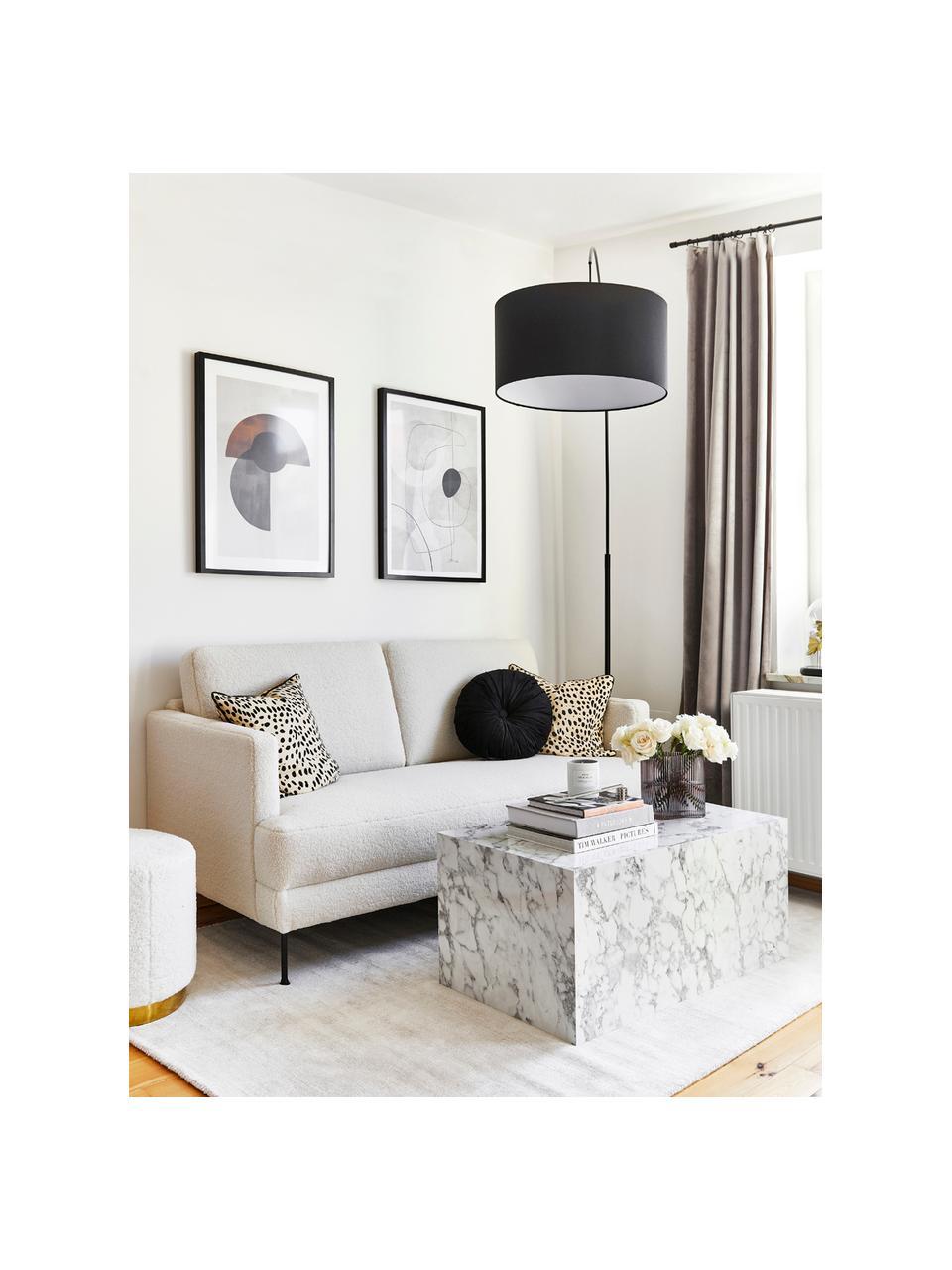 Salontafel Lesley met marmerlook, MDF bekleed met melaminefolie, Gemarmerd wit, B 90 x D 50 cm