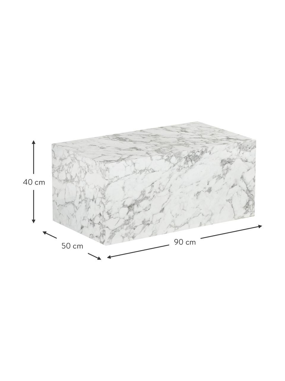 Stolik kawowy z imitacją marmuru Lesley, Płyta pilśniowa średniej gęstości (MDF) pokryta folią melaminową, Biały, imitacja marmuru, S 90 x W 40 cm