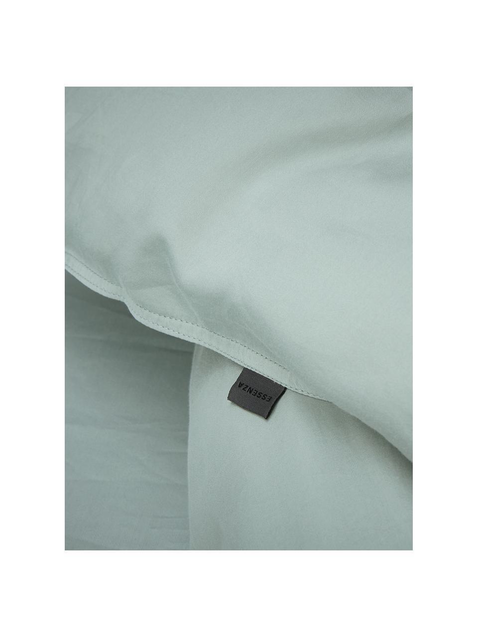 Gewaschene Baumwollsatin-Bettwäsche Minne in Mintgrün, Webart: Satin Fadendichte 300 TC,, Mintgrün, 135 x 200 cm + 1 Kissen 80 x 80 cm