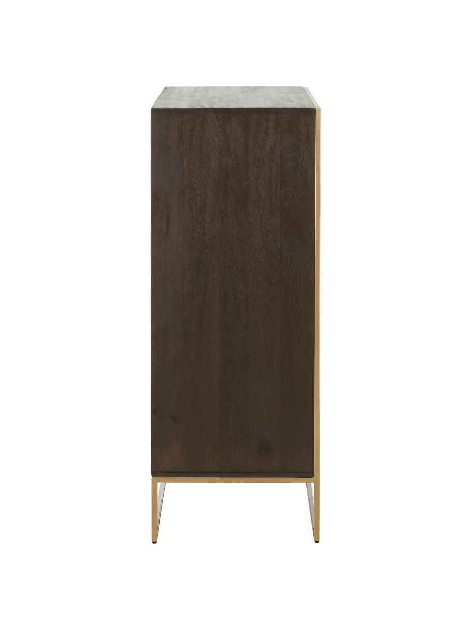 Highboard Harry aus massivem Mangoholz, Korpus: Massives Mangoholz, lacki, Mangoholz, Goldfarben, 100 x 120 cm