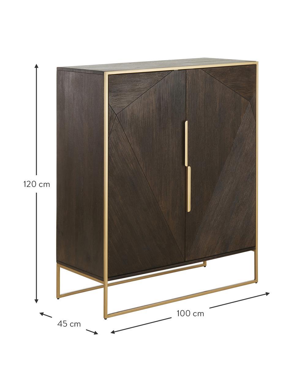 Highboard Harry aus massiven Mangoholz, Korpus: Massives Mangoholz, lacki, Mangoholz, Goldfarben, 100 x 120 cm