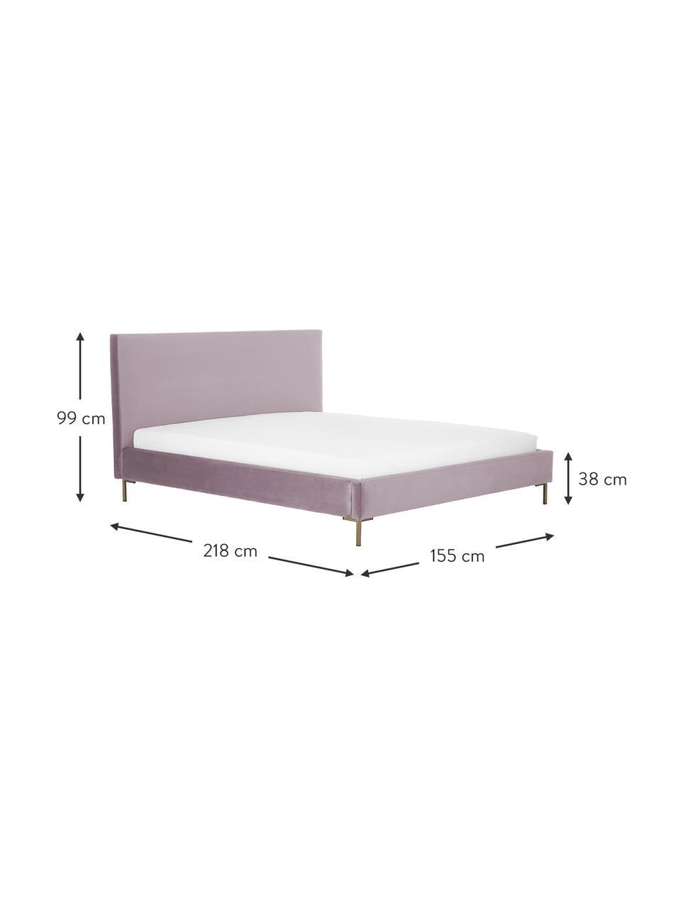 Gestoffeerd fluwelen bed Peace in mauve, Frame: massief grenenhout en pla, Bekleding: polyester fluweel, Poten: gepoedercoat metaal, Fluweel mauve, 180 x 200 cm