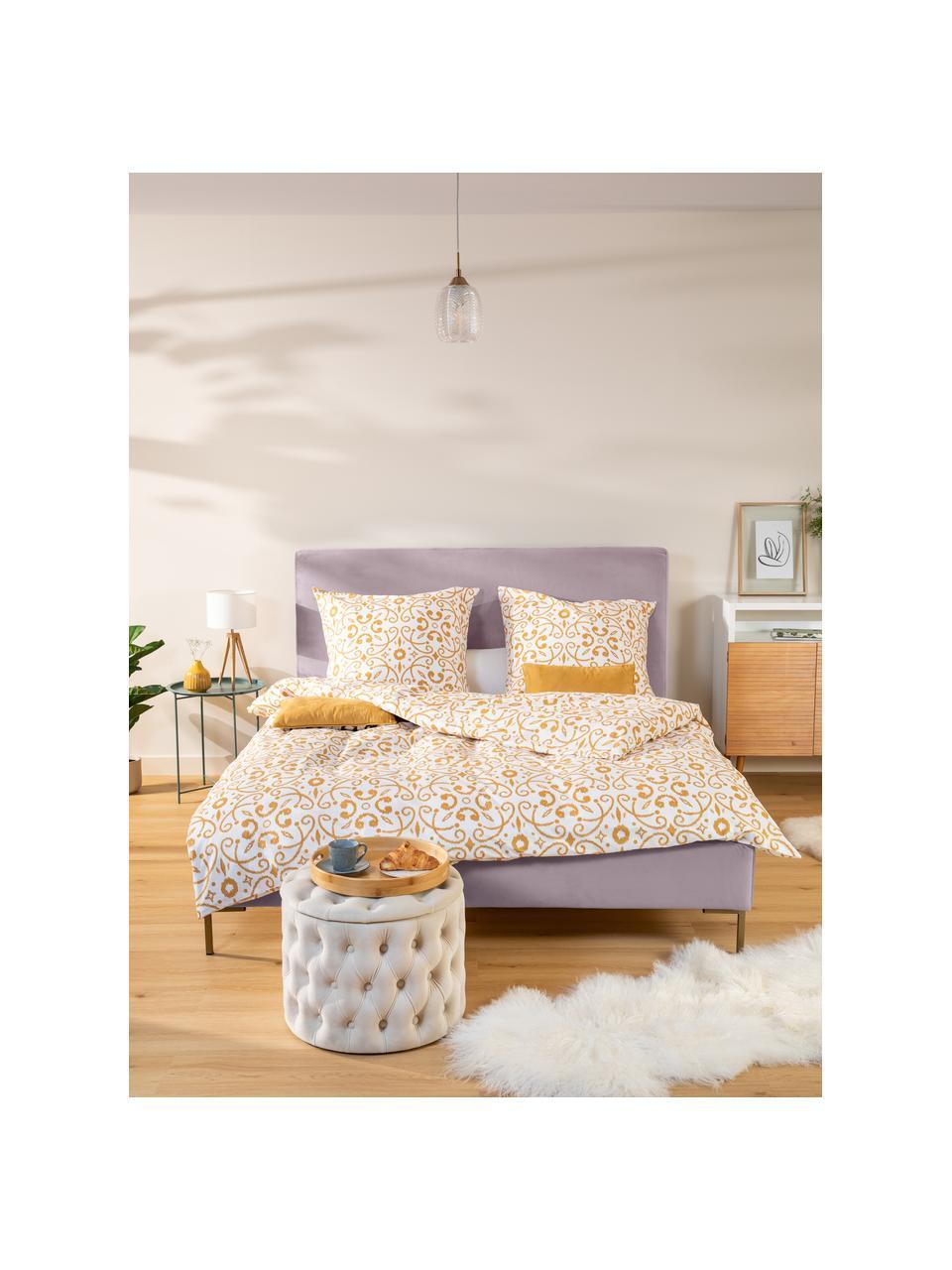 Łóżko tapicerowane z aksamitu Peace, Korpus: lite drewno sosnowe i pły, Tapicerka: poliester (tkanina strukt, Nogi: metal malowany proszkowo, Mauve, S 180 x D 200 cm