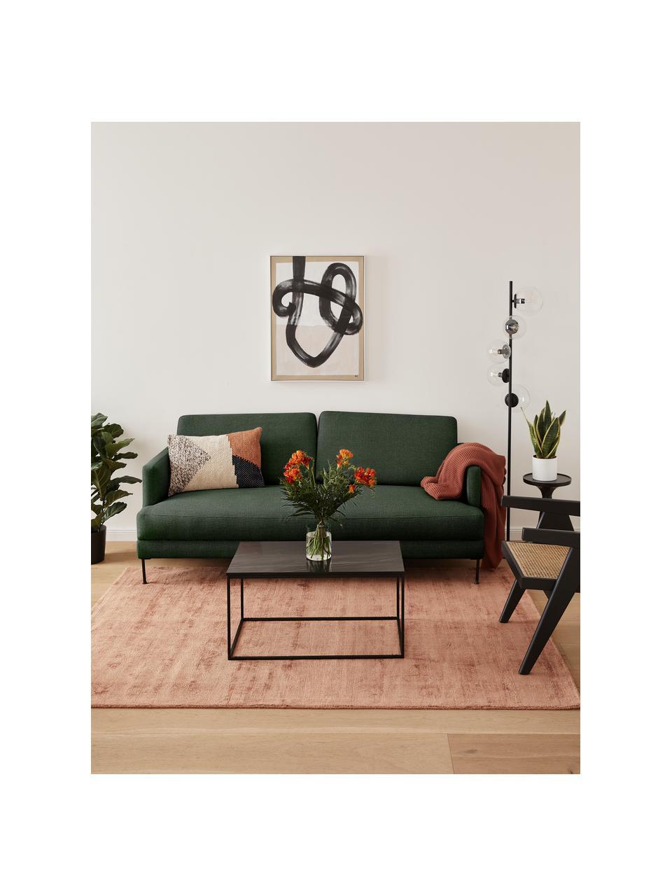 Sofa Fluente (2-Sitzer) in Dunkelgrün mit Metall-Füßen, Bezug: 100% Polyester Der hochwe, Gestell: Massives Kiefernholz, Füße: Metall, pulverbeschichtet, Webstoff Dunkelgrün, B 166 x T 85 cm