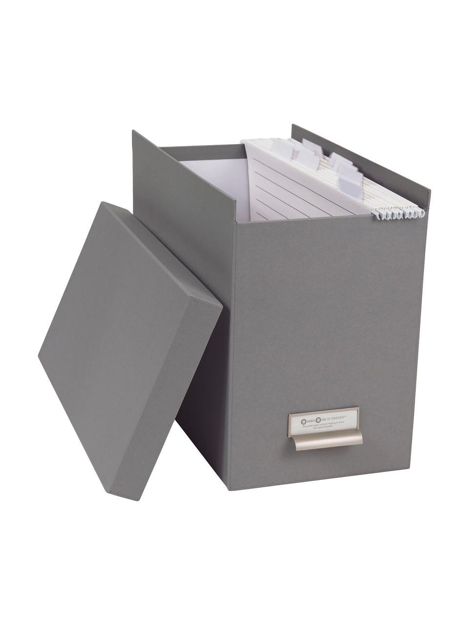 Hängeregister-Box Johan, 9-tlg., Organizer: Fester, laminierter Karto, Organizer außen: HellgrauOrganizer innen: Weiß, 19 x 27 cm