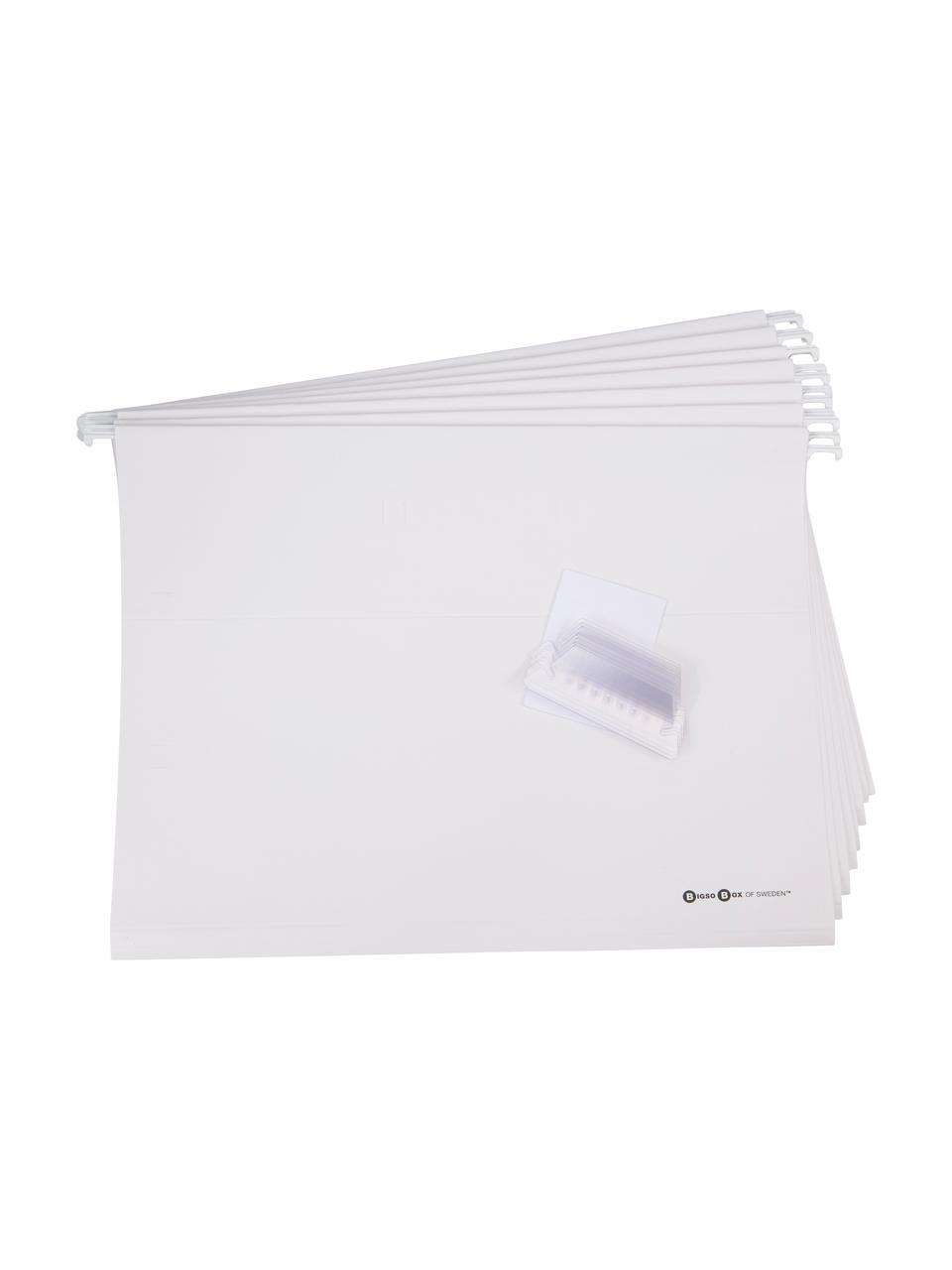 Scatola-archivio documenti Johan 9 pz, Organizzatore esterno: grigio chiaro Organizzatore interno: bianco, Larg. 19 x Alt. 27 cm