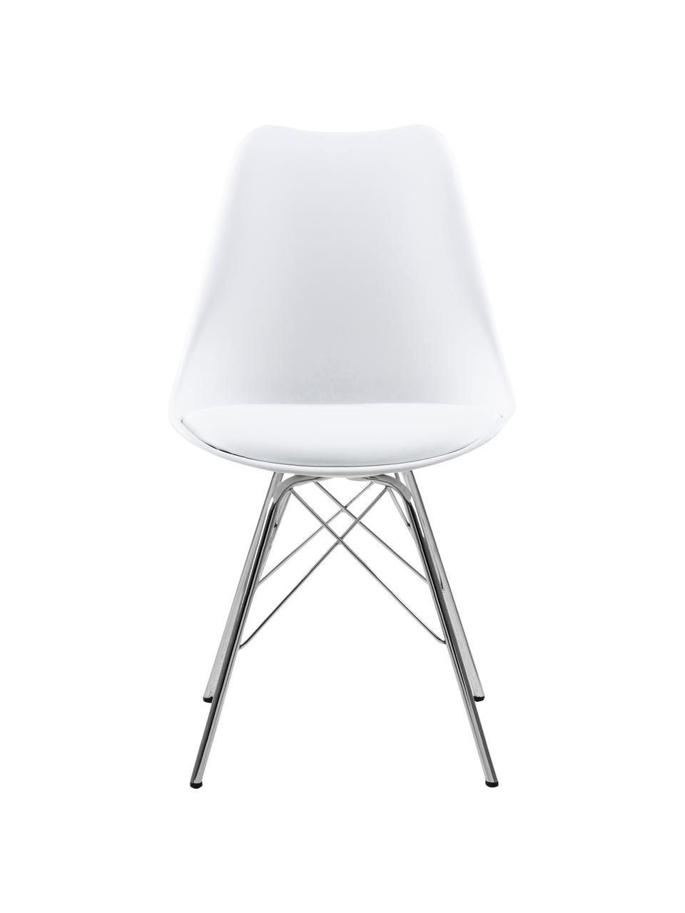 Kunststoff-Stühle Eris, 2 Stück, Sitzschale: Kunststoff, Sitzfläche: Kunstleder, Beine: Metall, verchromt, Weiß, Beine Chrom, B 49 x T 54 cm