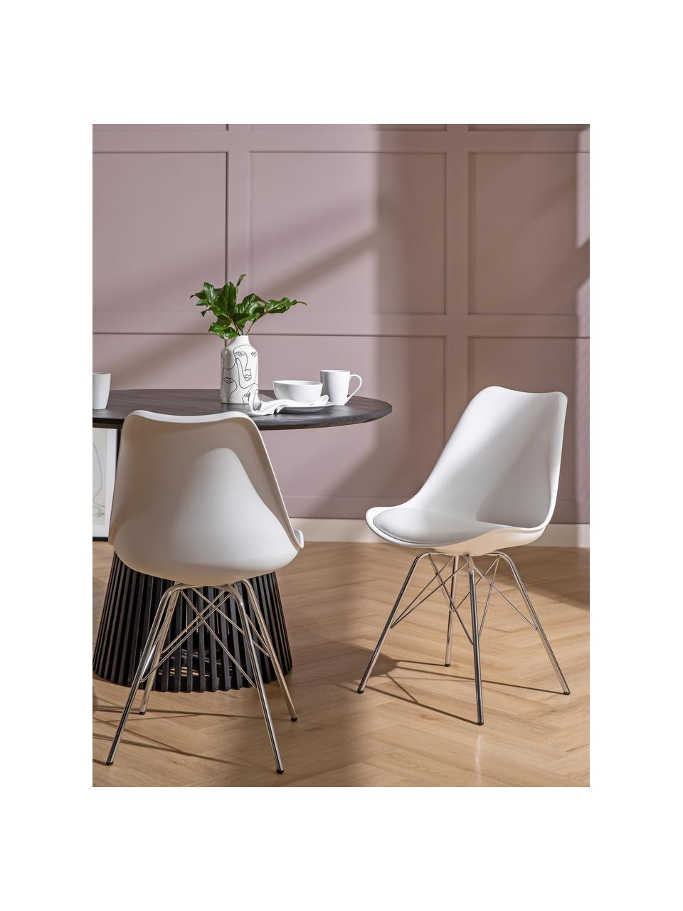 Krzesło z tworzywa sztucznego Eris, 2 szt., Nogi: metal chromowany, Biały, chrom, S 49 x G 54 cm