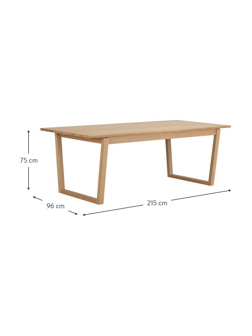 Eichenholz-Esstisch Colonsay in Hellbraun, Tischplatte: Mitteldichte Holzfaserpla, Eichenholzfurnier, B 215 x T 96 cm