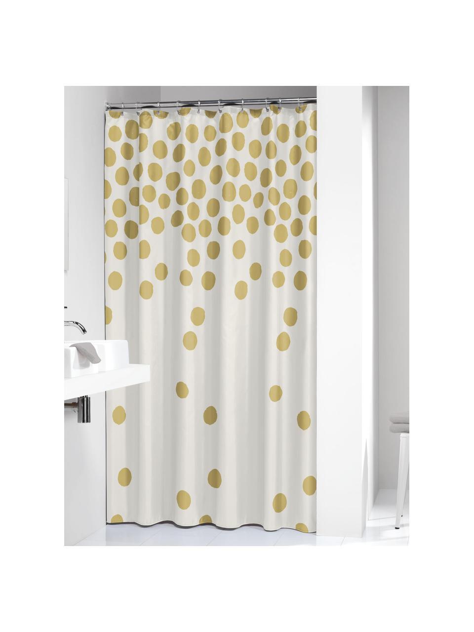 Rideau de douche blanche à pois dorés Spots, Blanc, couleur dorée