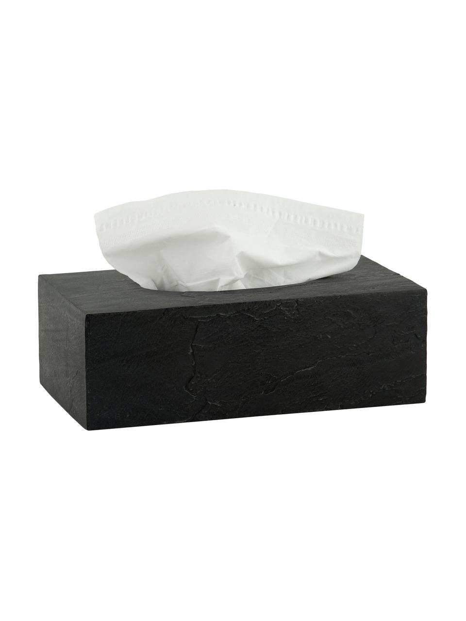 Kosmetiktuchbox Slate, Polyresin, Schwarz, 26 x 9 cm