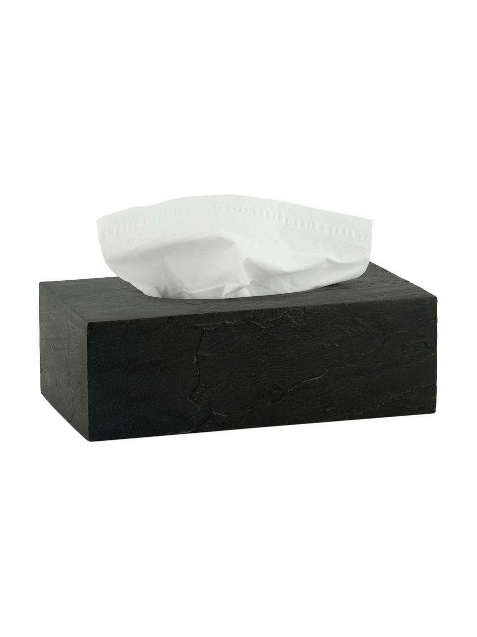 Pudełko na chusteczki Slate, Poliresing, Czarny, S 26 x W 9 cm