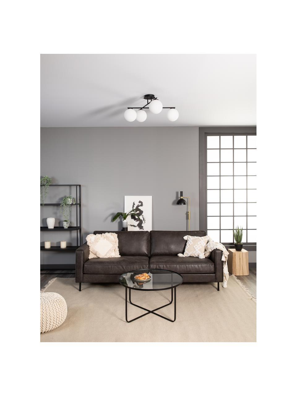 Deckenleuchte Atlanta aus Opalglas, Baldachin: Metall, pulverbeschichtet, Schwarz, 65 x 30 cm