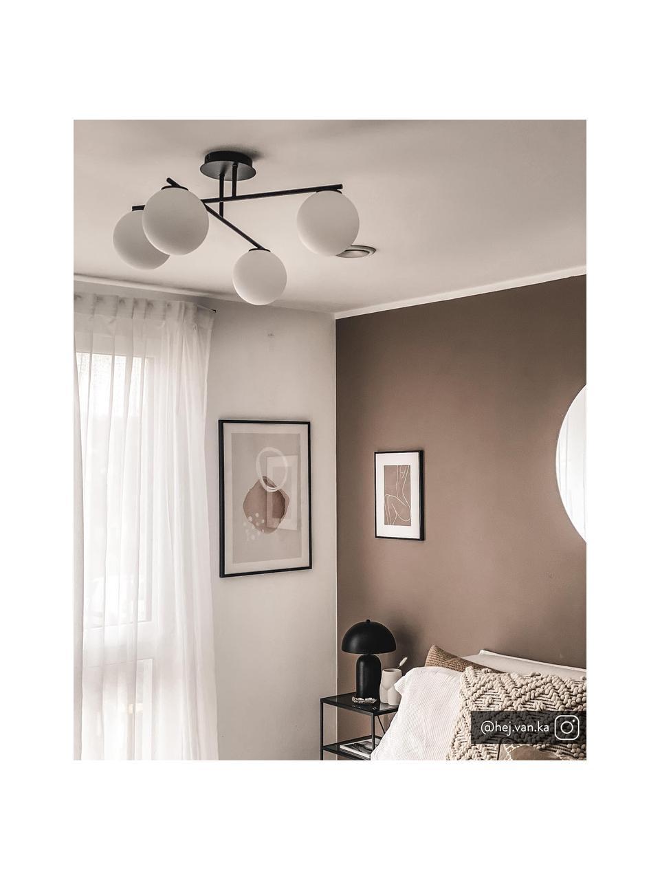 Plafondlamp Atlanta van opaalglas, Baldakijn: gepoedercoat metaal, Zwart, 65 x 30 cm