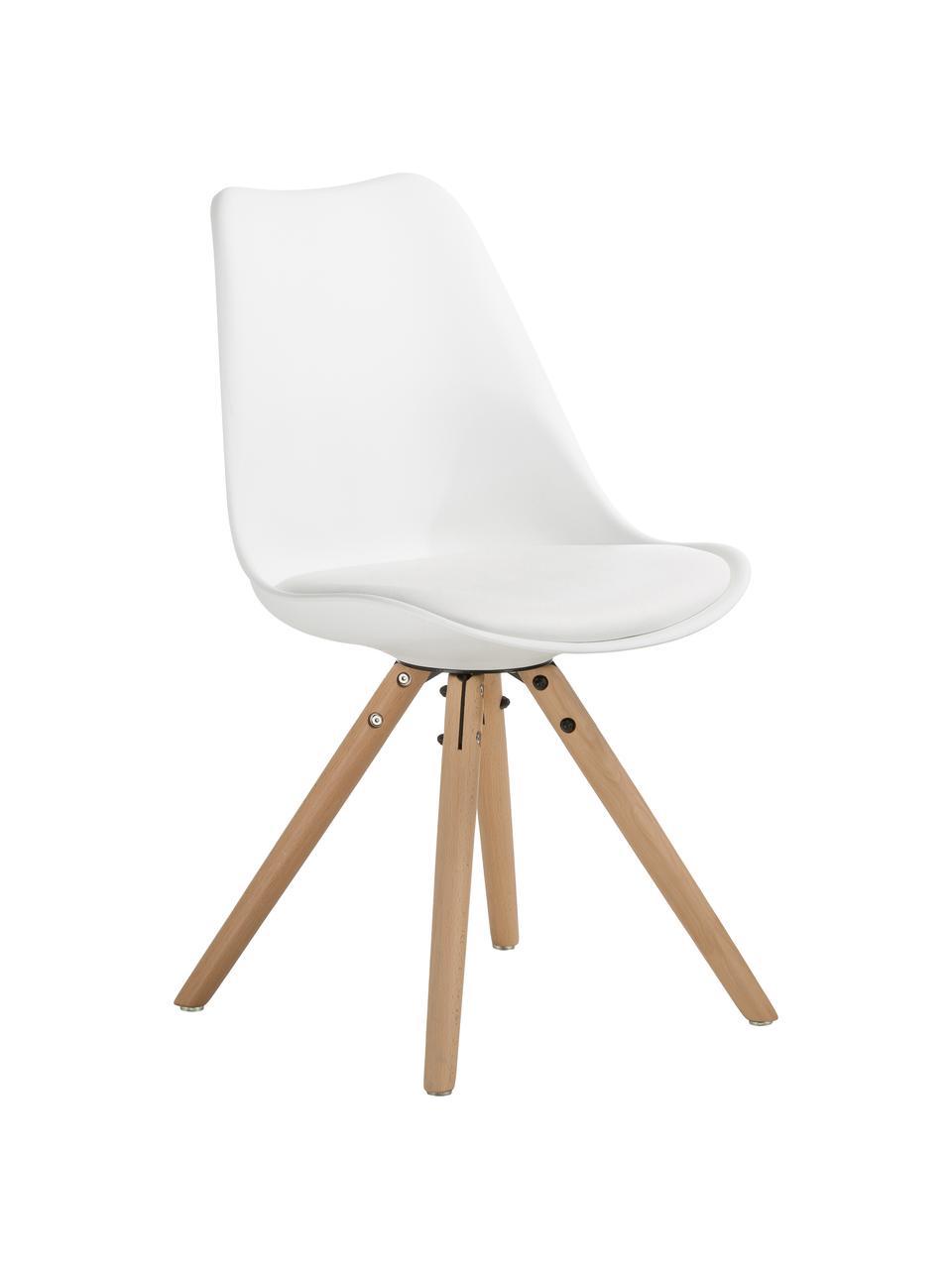 Kunststoffstühle Max in Weiß, 2 Stück, Sitzfläche: Kunstleder (Polyurethan) , Sitzschale: Kunststoff, Beine: Buchenholz, Weiß, B 46 x T 54 cm